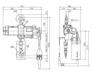Technische informatie ENDO luchttakel EHL-TS 1 Ton