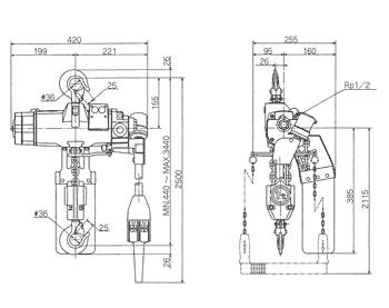 Technische informatie ENDO luchttakel EHL-TW 1 Ton
