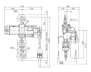 Technische informatie ENDO luchttakel EHL-TW 2 Ton