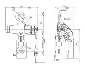 Technische informatie ENDO luchttakel EHL 3 Ton