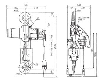 Technische informatie ENDO luchttakel EHL 6 Ton