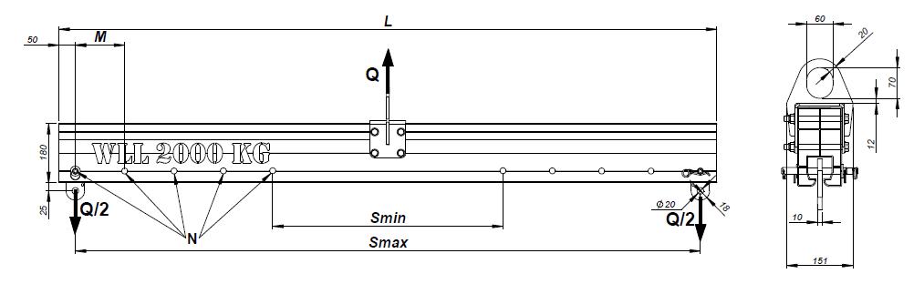 ELLERsafe Aluminium Verstelbare Traverse TRA Data
